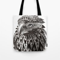black and white ornate rendered tribal eagle Tote Bag