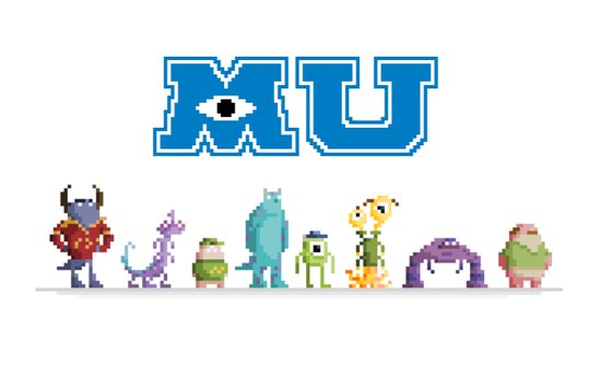 Pixel Monsters University Art Print