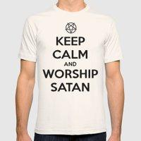 Keep Calm And Worship Sa… Mens Fitted Tee Natural SMALL