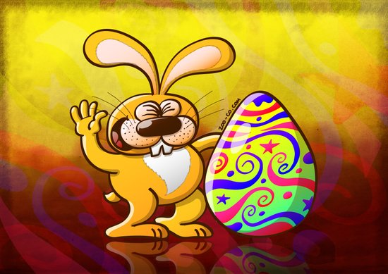 Easter Bunny Proud of his Big Decorated Egg Art Print