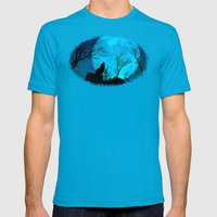 Howling wolf Mens Fitted Tee Teal SMALL