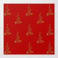 Gold Christmas Trees Canvas Print