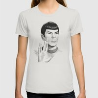 Spock Portrait Star Trek Womens Fitted Tee Silver SMALL