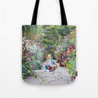 Alice And The White Rabb… Tote Bag