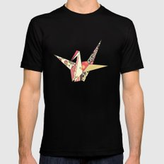 Floral Origami SMALL Black Mens Fitted Tee