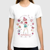 Cupcakes Womens Fitted Tee White SMALL