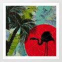 Distressed Flamingo Art Print