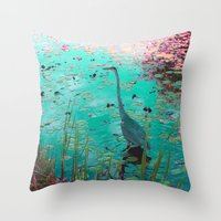 Throw Pillow featuring Heron Pond by Renee Trudell