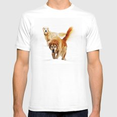 Two dogs Mens Fitted Tee White SMALL