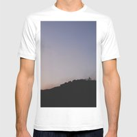 Male Silhouetted On Moun… Mens Fitted Tee White SMALL