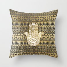 Faux Print Gold Hamsa Hand and Tribal Aztec Throw Pillow