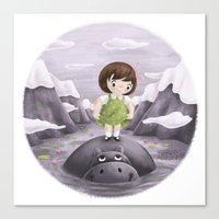 Lily and Hippo  Canvas Print