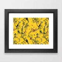 Monkey World Yellow Framed Art Print