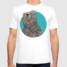 Beary Sketch White SMALL Mens Fitted Tee