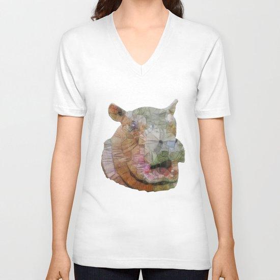 abstract hippo V-neck T-shirt