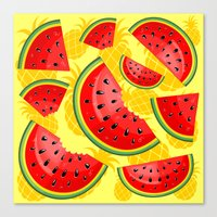 Watermelon And Pineapple… Canvas Print