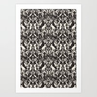 Victorian cat damask Art Print