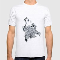 Growling Lion  Mens Fitted Tee Ash Grey SMALL