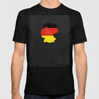 Germany Minimalist Vintage Map with Flag Mens Fitted Tee Tri-Black SMALL