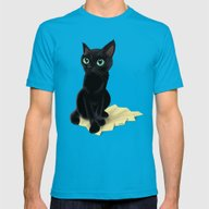 Black Little Kitty Mens Fitted Tee Teal X-LARGE