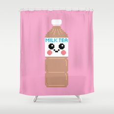 Happy Pixel Milk  Tea Shower Curtain