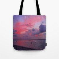 Swimming Towards Sundown Tote Bag