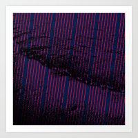 Red stripes on bold blue illustration. Art Print