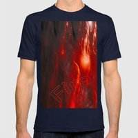 Flames Mens Fitted Tee Navy SMALL