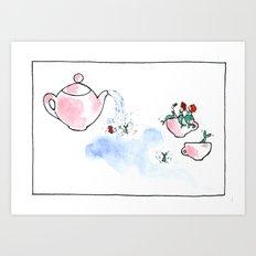 Travelling Postcard #3 - A cup of tea ? Art Print