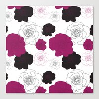 Black and Pink Roses on White Canvas Print