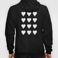 16 Hearts White On Navy Hoody