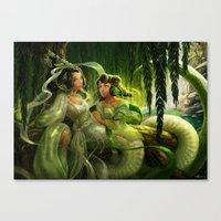 White Snake And Green Sn… Canvas Print