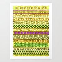 Yzor Pattern 011 Yellow … Art Print