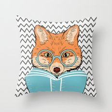 Reading Fox Throw Pillow