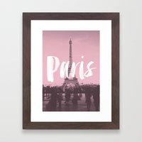 Pink Paris Eiffel Tower Framed Art Print