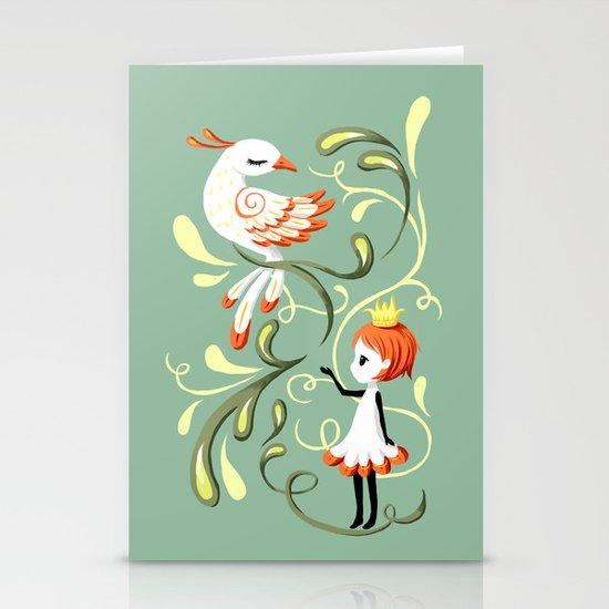 Princess and a Bird Stationery Card