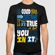 The Good Thing About Sci… Mens Fitted Tee Tri-Black SMALL