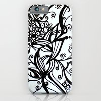 iPhone & iPod Case featuring Forget Me Not Black & White  by ElifsArt
