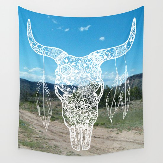 new mexico bull skull southwestern home decor tapestry