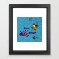 Sea of Atoms - Atomic Fish Framed Art Print