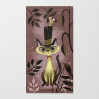 Mouse On A Hat And A Siamese Cat Canvas Print