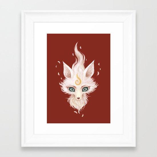 White Fox Framed Art Print