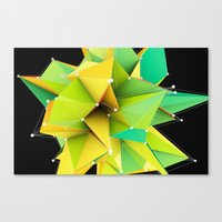 Polygons green Abstract Canvas Print