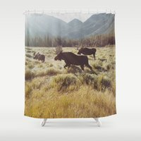 Three Meadow Moose Shower Curtain