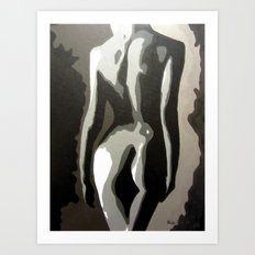 Abstract Female Silhouette Sepia toned Shadows Light study Art Print