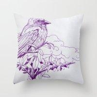 Purple Ink Bird Throw Pillow