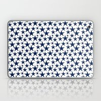 Blue stars on white background illustration Laptop & iPad Skin