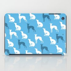 Greyhound Dogs Pattern On Blue Color iPad Case
