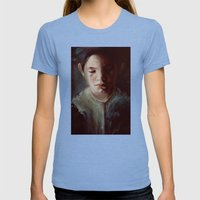 Untitled (dear God) Womens Fitted Tee Tri-Blue SMALL
