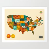 UNITED STATES MAP Art Print